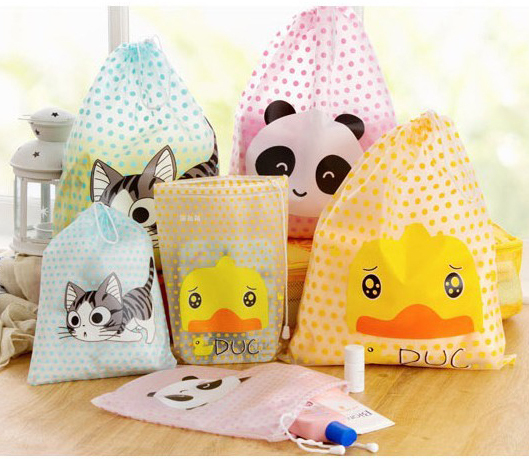 Cute cat panda Polka Dot PVC Drawstring Waterproof Travel Storage Bag Creative Living Travel Sorting bag(China (Mainland))