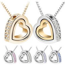 Buy SHUANGR Free Gold-Color Austrian Crystal design Brand Heart pendant necklace Fashion Jewelry 2016 women for $1.34 in AliExpress store