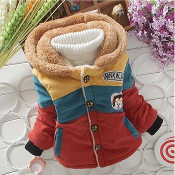 2015 мальчиков теплая куртка ребенок мальчики свободного покроя снег износ пуховик с капюшоном новый ребенок зимой ветрозащитный толстые полосатый пиджаки
