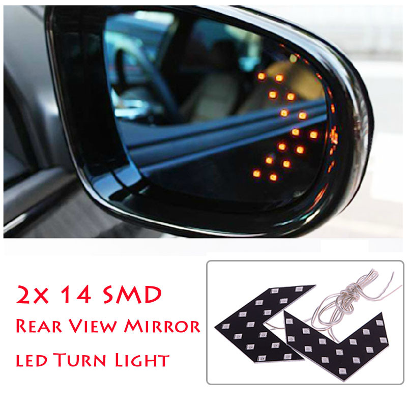 New 2 Pcs 14 SMD LED Arrow Panel For Car Rear View Mirror Indicator Turn Signal Light CFEG #49834(China (Mainland))