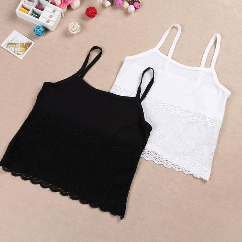 1PC Fashion Kids Tank Tops Sponge Young Girls Modal Top Children Lace Sling Vest Underwear Soft - Child Supermarket store