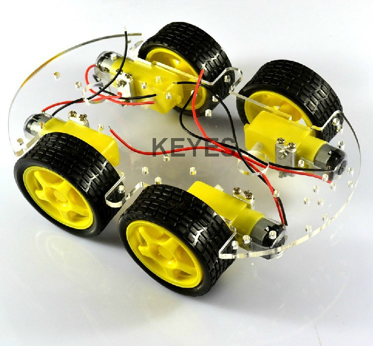 Smart car chassis 4WD four-wheel drive four guns trolley magnetic motor ST-4WD / monolayer - NOCO Crystal's STORE store