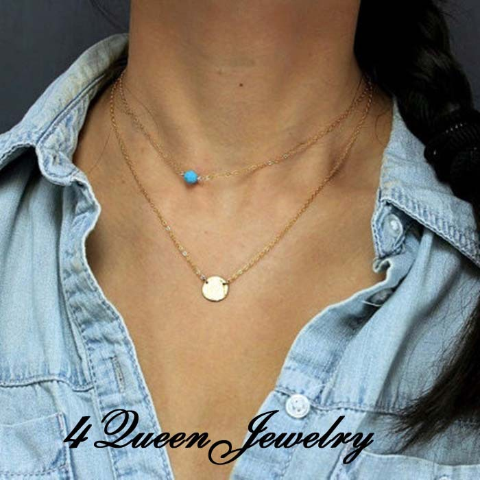 Double thin gold chain necklace,turquoise metal alloy choker necklaces&pendants,collares 2015 womens jewellery girls gift free - 4 Queen Jewelry store