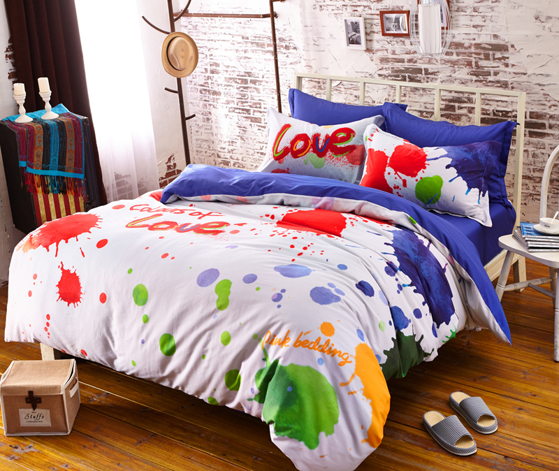 100 Cotton Comforter Duvet Cover Colorful Bedding Set Colorful Bed Sheets