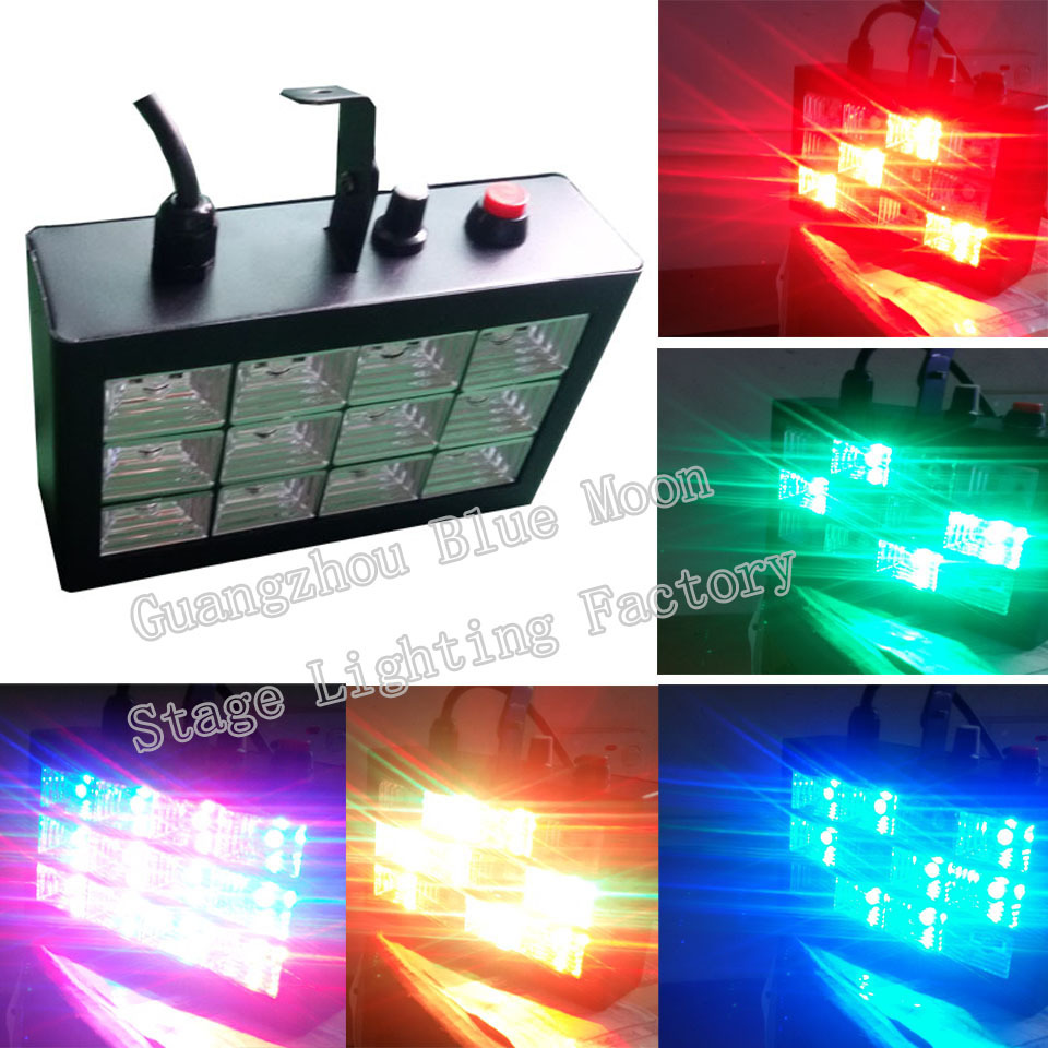 12w Auto & Voice-activated LED Mini Laser Projector Stage Light Bar Party Disco DJ Lighting Professional Stroboscope EU/US Plug(China (Mainland))