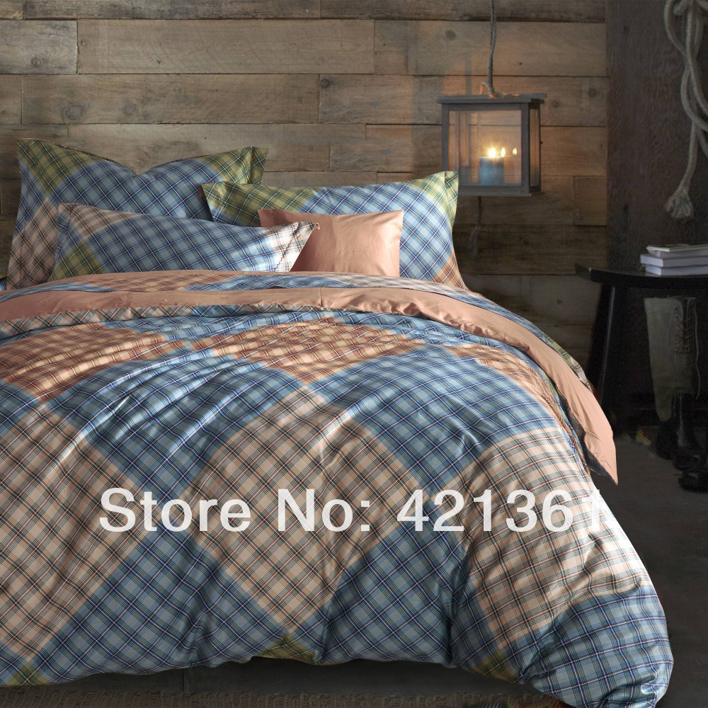Reactive printing home use king queen brown blue plaid bed set 100% cotton colorful luxury gift duvet cover flat sheet(China (Mainland))