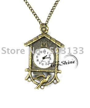 Free Shipping!! Fashion Antique Bronze Bird House Pocket Watch D00643o