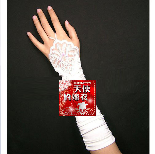 Wedding Accesory~Brief Style Fingerless Pearl Lace Satin Bridal Gloves 339(China (Mainland))