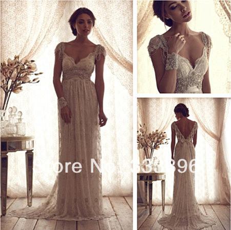 2014New Custom Made White/Ivory Luxury scoop neck Lace Crystal Beaded short Sleeves Wedding Dresses WDA0101 - Suzhou SAO tome clothing co., LTD store