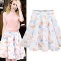 plus size vintage skirts women 2016 summer korean vestido tutu skirt women Ice cream print chiffon