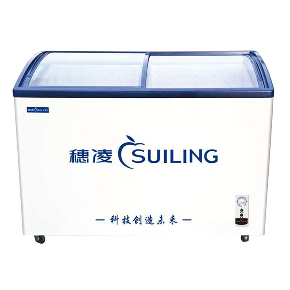 291L Curved Glass Sliding Top 2-Door Ice Cream Display Deep Freezers Refrigerator Commercial Chest Freezer Fridge 10.3 cf. White(China (Mainland))
