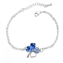 Top Quality Charms Gold/Silver Plated Crystal Happiness Four Leaf Clover Charm Bracelets & Bangles Lovers Gift Jewelry For Women(China (Mainland))
