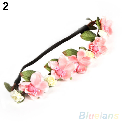 Women's Bohemian Floral Flower Rose Party Wedding Hair Wreaths Headband Hair Band 1R3I(China (Mainland))