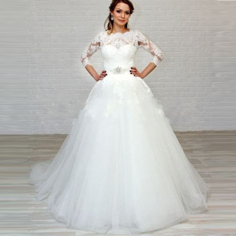 Wedding Dresses 3 4 Sleeves Lace : Sleeves lace wedding dresses tulle ribbon beaded bride dress