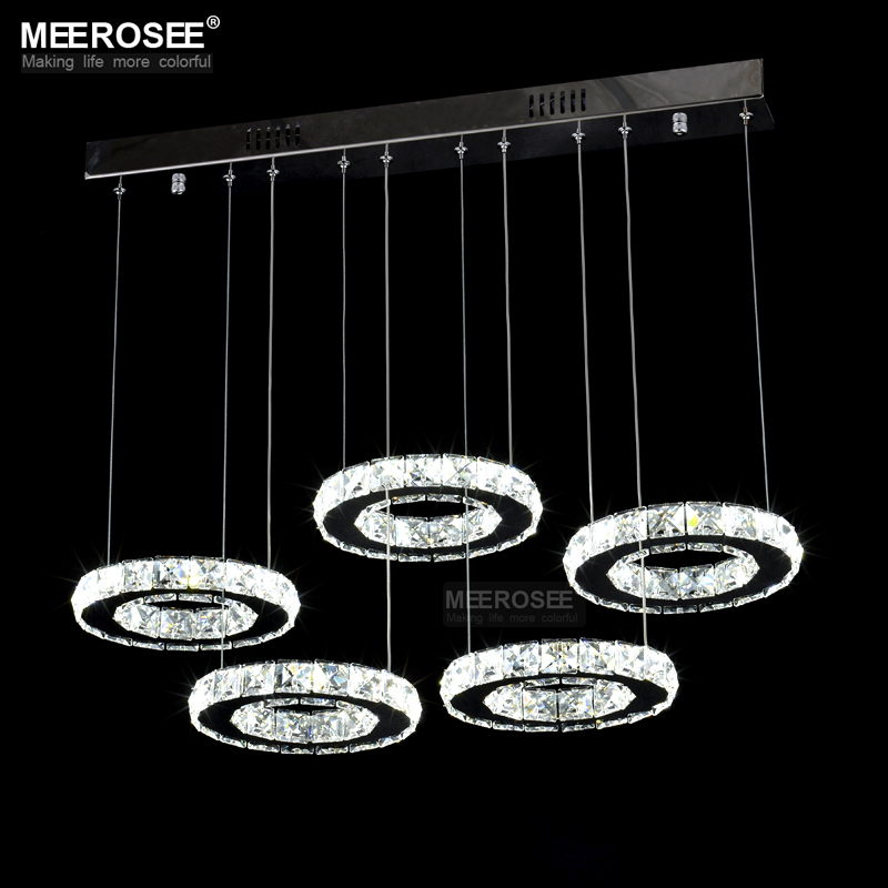 Modern Chrome Chandelier Crystals Diamond Ring LED Lamp Circle Stainless Stee