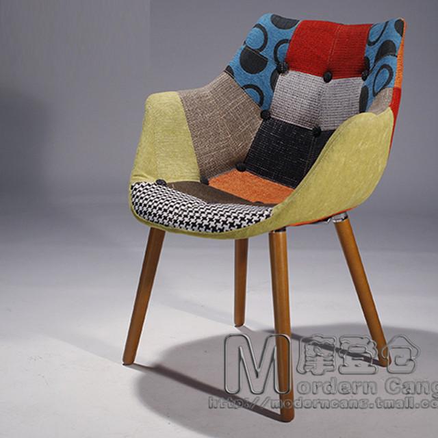 Nordic houten stoel zonder armleuningen stof sofa stoelen ...
