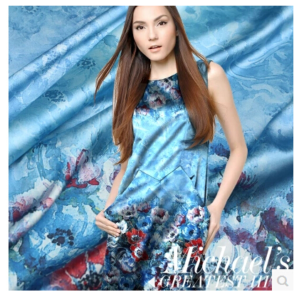 luxsury silk mulberry Big blue ocean fabric stretch satin locate silkworm floral dress - Jenny's Story store