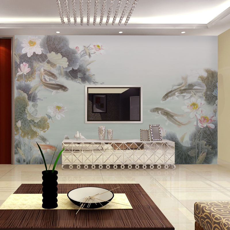 Can be customized mural chinese style wallpaper 3d tv for Chinese mural wallpaper