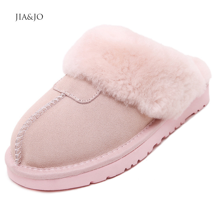 Fashion Warm Full Grain Leather Slippers Home Women EVA ...
