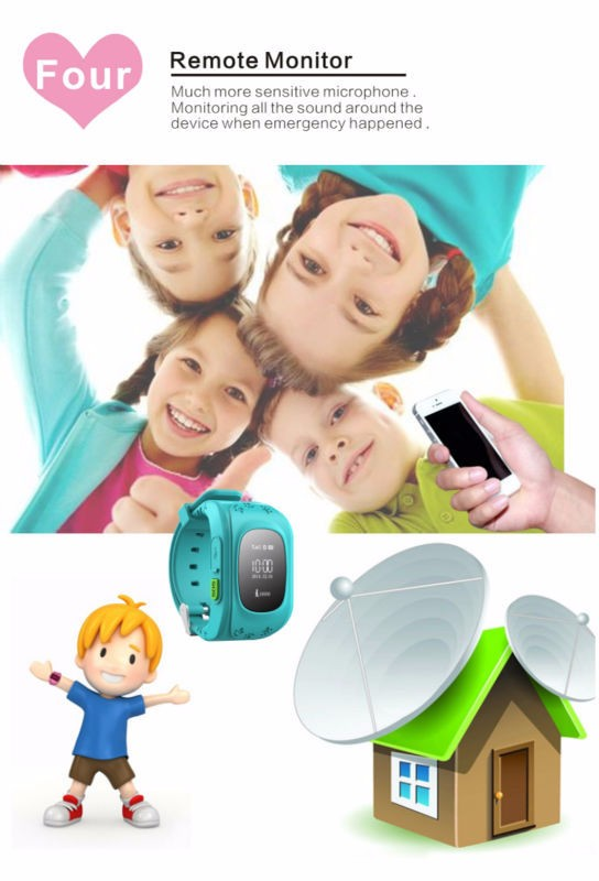 image for 2016 Smart Phone GPS Watch Children Kid Wristwatch Q50 GSM GPS Locator