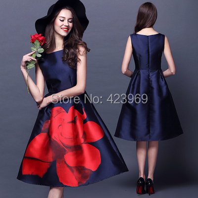 2015 European Style Summer Dress Women Lady O-neck Sleeveless Slim Rose Print Retro A-line Knee-length Blue Red S,M,L,XL - fashionmallcenter store