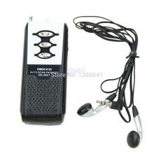 L155 Free Shipping New Portable Mini Auto Scan FM Radio Receiver Belt Clip With Flashlight Earphone