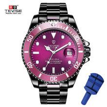 2019 transporte da gota tevise marca superior homens relógio mecânico automático moda de luxo aço inoxidável masculino relogio masculino(China)