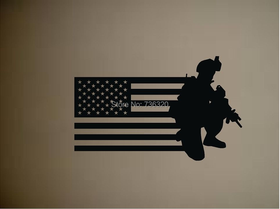 Army Gun Vinyl Wall Decal Military Soldier Men US Flag Old Glory Sticker Bar Home Decoration Kid's Room - 365DAYS SWEET HOME (HOME Artist-Vicky Li store)
