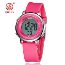 2016 OHSEN brand digital LCD kids girls fashion wristwatch cute pink Rubber strap 30M waterproof Child watches alarm hand clocks(China (Mainland))