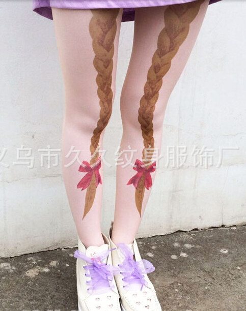 50pcs/lot fedex fast free shipping Japanese style Fairy tale young girl Bowknot red bow braid hair tight Velvet print pantyhosesОдежда и ак�е��уары<br><br><br>Aliexpress