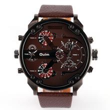 Oulm 3548 domineering 4 tiempo militar aire libre atmósfera con estilo gran mano para hombre dial del reloj del cuarzo correa ocasional de moda