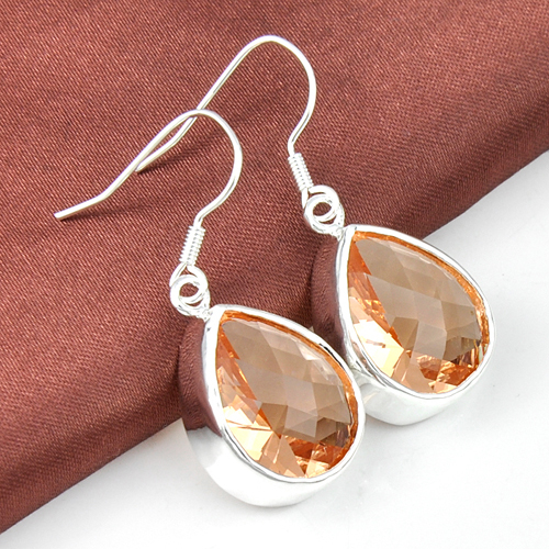 new 2014 water drop shape Morganite earings women for wedding jewelry silver plated(China (Mainland))