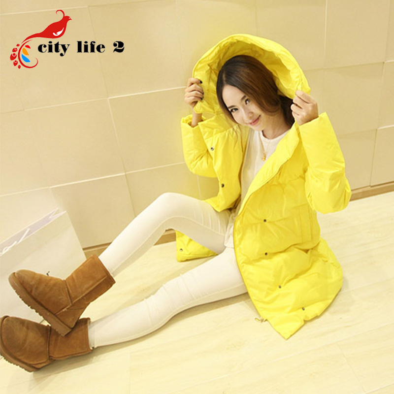Korean Warm Winter Parkas Hooded Girls Long Thicker Loose Style Cotton Clothes Zipper Down Jacket Yellow Padded Coat Women
