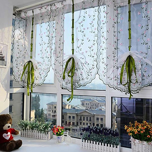 Rural Fresh Hand Embroidered Floral Shade Sheer Voile Door Cafe Kitchen Curtain(China (Mainland))