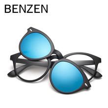 BENZEN Polarized Magnet Clip Glasses TR 90 Coating  Sunglasses Male Myopia Women Men Glasses Frame Black With Case 9150(China (Mainland))