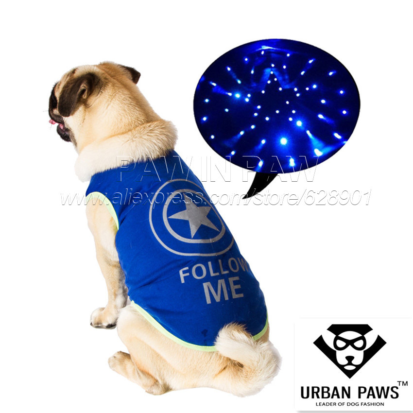 Free Shipping 2015 Hot New LED light up Super Hero Pet Puppy Dog Star Costume Dog Hoodie Clother High Quality(China (Mainland))