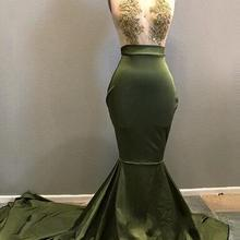 Sexy Olive Green Lace Mermaid Prom Dresses Deep V-neck Off Shoulder Long Prom  Gowns 00ee17c7c0f3