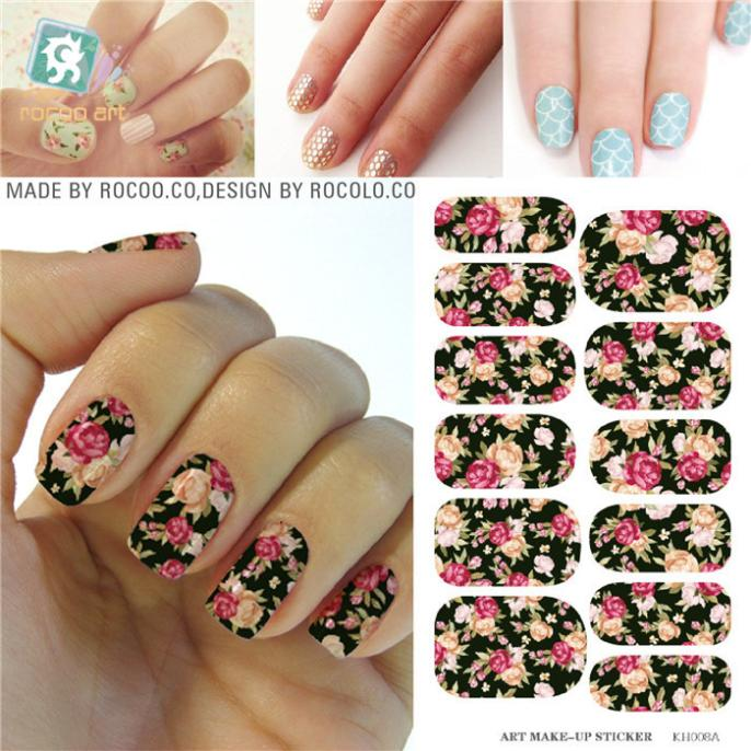 2016 Nail Art Hot sale Minx Red Rose flower Full Cover nail sticker Water Transfer Foils Flowers Design Nail Sticker tools(China (Mainland))