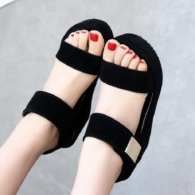 2016 Summer Shoes Woman Sandals Fashion Black White Flat Platform Sandals Woman Wedges Ankle Strap High Heels Sandals F580