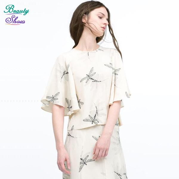New 2016 Casual Dragonfly Printed Casual All-Match O Neck Short Sleeve T Shirt Loose Back Hollow Out Women Tops Ladies T-Shirts(China (Mainland))