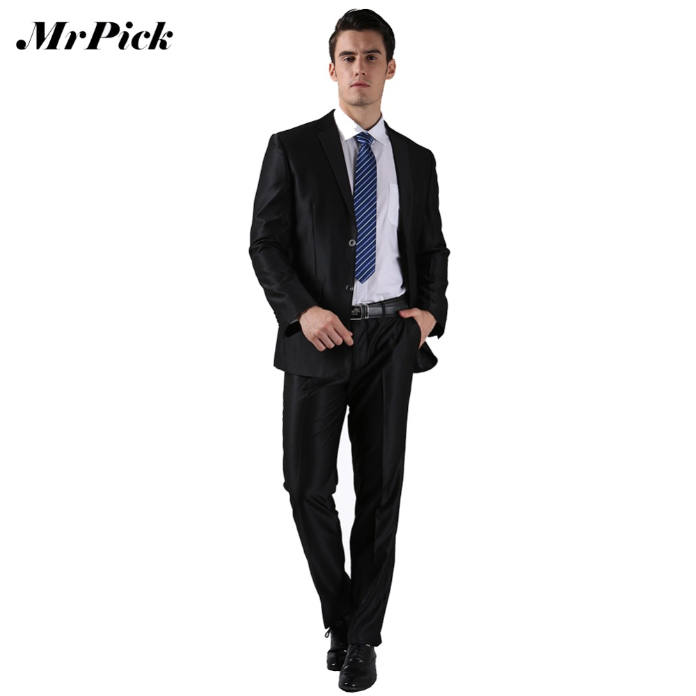 2Pcs (Jacket+Pants) Single Breasted Tuxedo Wedding Black White ...