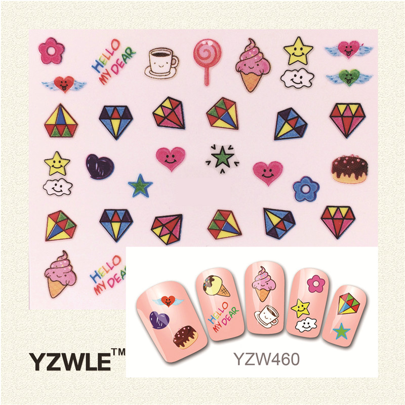 YZWLE 1 Sheet Fashion 3D Nail Art Stickers 2016 New Styles Manicure Decals Decoration (YZW-460)(China (Mainland))