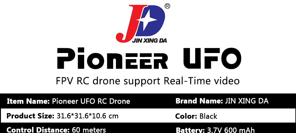 Pioneer UFO RC Drone with WIFI Camera 2.4G 4CH Remote Control Dron Quadrocopter Professional FPV Drones support Real-Time Video