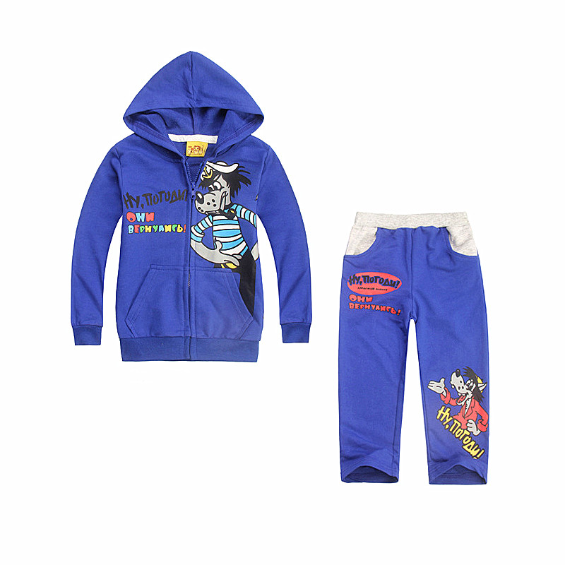 2016 New Kids Sport Suit Children Clothing Sets Boys Print Cartoon Wolf Coat Fashion Hooded Zipper Casual Sweater Pants Clothe(China (Mainland))
