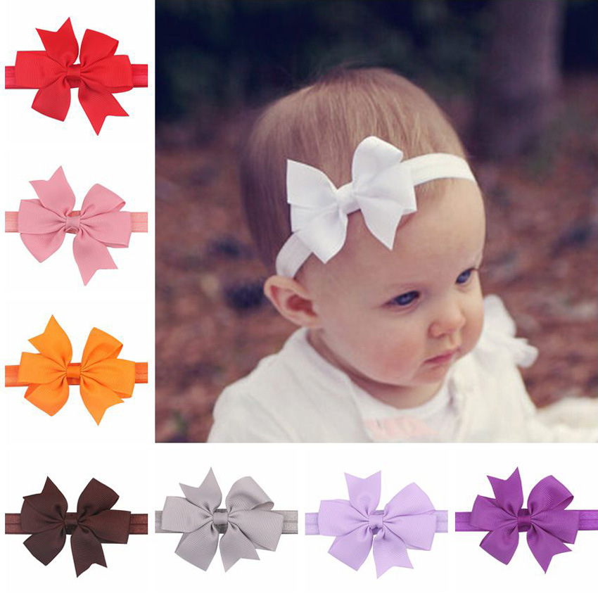 Free shipping, 20 pcs/lot, Baby Girls Grosgrain Ribbon Bow elastic Headband(China (Mainland))