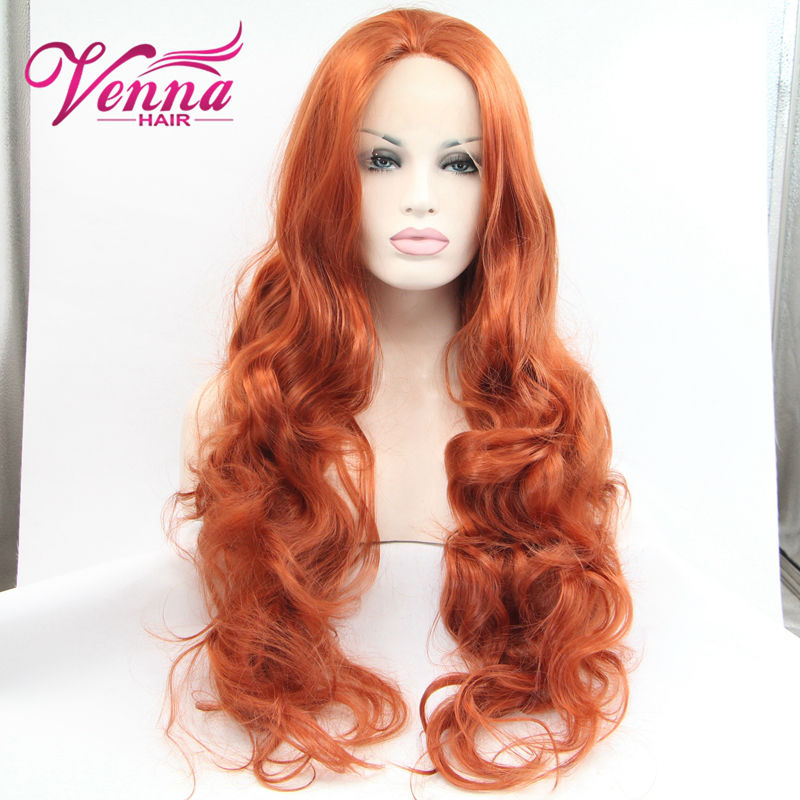 Attractive orange Brown synthetic hand tied lace front wig New arrive high quality lace front wigs for black women<br><br>Aliexpress