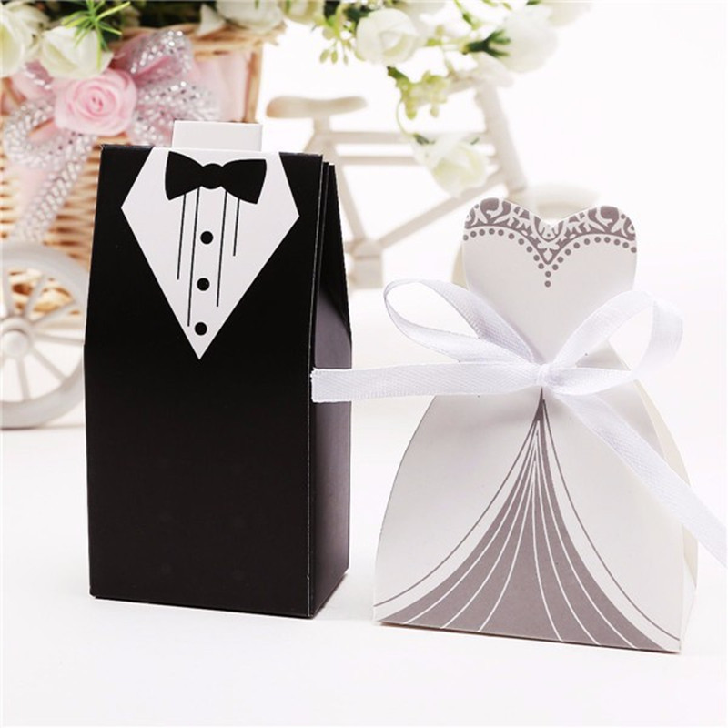 100Pcs Bridal Gift Cases Groom Tuxedo Dress Gown Ribbon Wedding Favors Candy Box Sugar Case Wedding