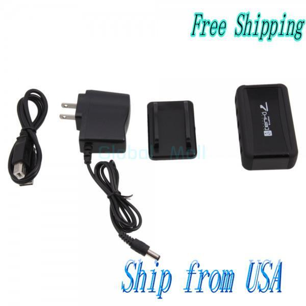 Ship From USA 7-Port USB 2.0 Hub Powered High Speed with Free AC Adapter Black CV054BL(China (Mainland))