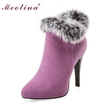 Buy Meotina Shoes Women High Heels Ankle Boots Winter Boots Platform High Heels Ladies Boots ZipWhite Purple Big Size 10 11 44 45 for $25.18 in AliExpress store