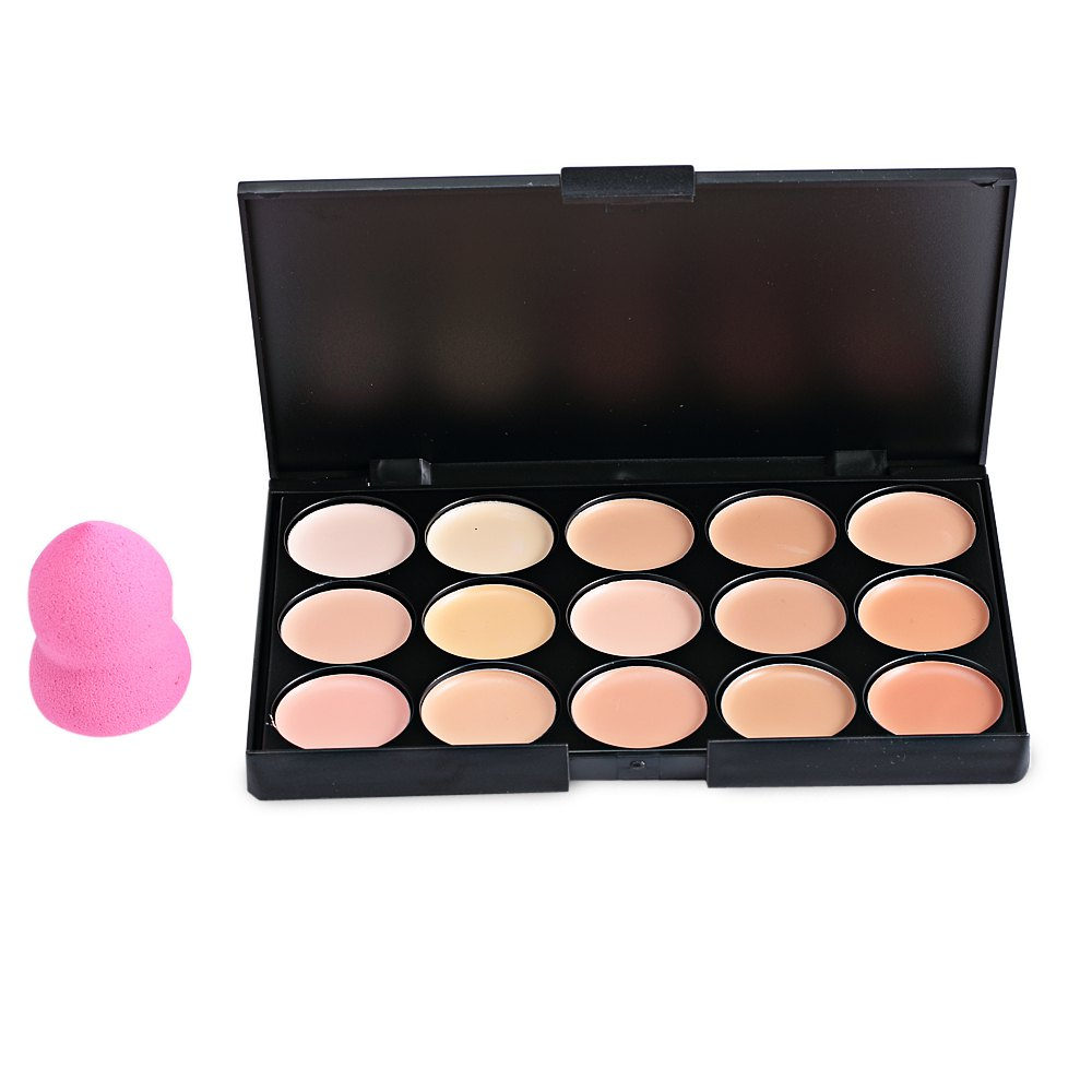 15 Color Matte Cream Camouflage Concealer Palette Makeup Correct And Powder Puff Sets